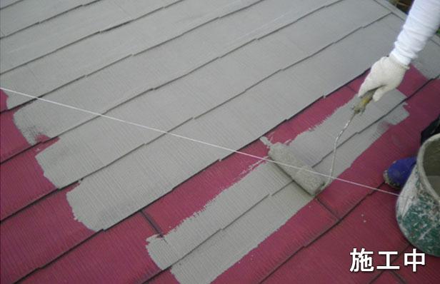 屋根防水工事施工中