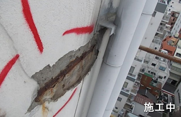 ロープ工事破損爆裂状況