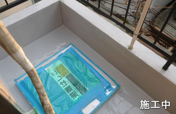 品川区マンション防水工事ウレタン材二層目
